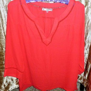3/4 Sleeve Cherry Red Blouse